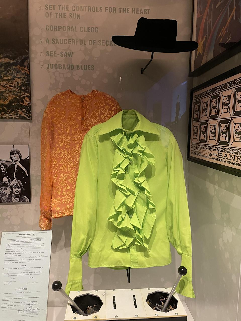 """Nick Mason's 1968 stage shirts and hat, as seen in """"Pink Floyd: Their Mortal Remains"""" exhibition - Credit: Chris Willman / Variety"""
