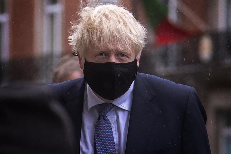 Prime Minister Boris Johnson arrives at BBC Broadcasting House in London to appear on the Andrew Marr show. (Photo by Victoria Jones/PA Images via Getty Images)