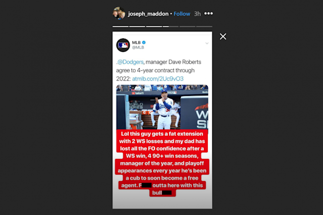 Screenshot of Joseph Maddon's Instagram Story.