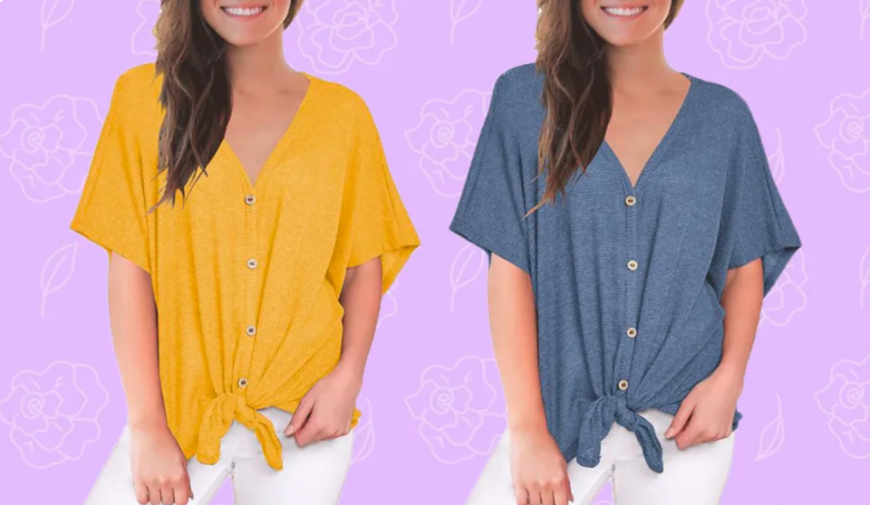 The Miholl Tie-Front Blouse is the ultimate summer top you never knew you needed — until now. And it's marked down to $21. (Photo: Amazon)