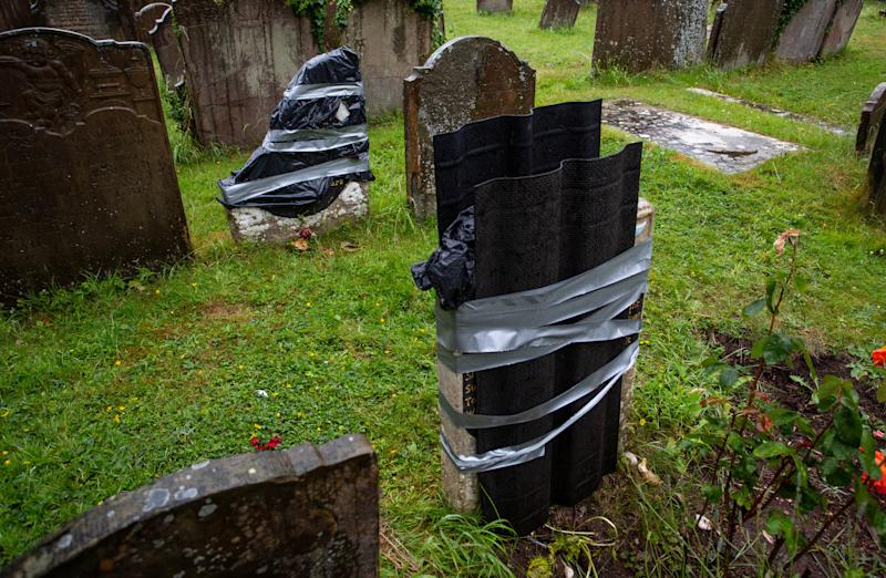 The historic grave of a young African has been vandalised. (SWNS)
