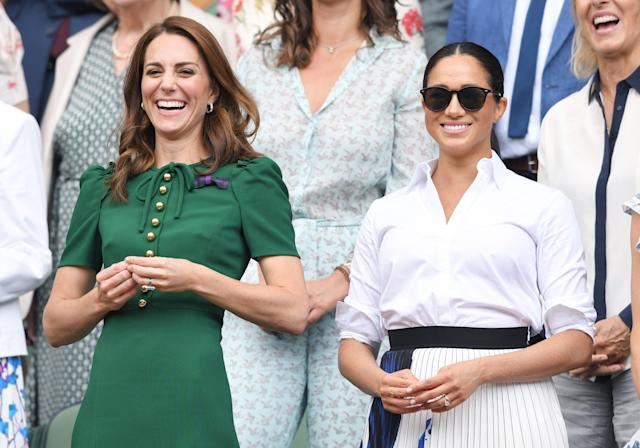 """Meghan headed back to Wimbledon, this time with sister-in-law Kate and Kate's sister Pippa, for the <a href=""""https://people.com/royals/meghan-markle-kate-middleton-wimbledon-sisters-in-law-date/"""" rel=""""nofollow noopener"""" target=""""_blank"""" data-ylk=""""slk:women's finals"""" class=""""link rapid-noclick-resp"""">women's finals</a>."""