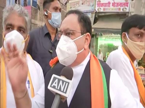 BJP national president Jagat Prakash Nadda speaking to ANI during roadshow in Bihar's Hajipur on Saturday. Photo/ANI