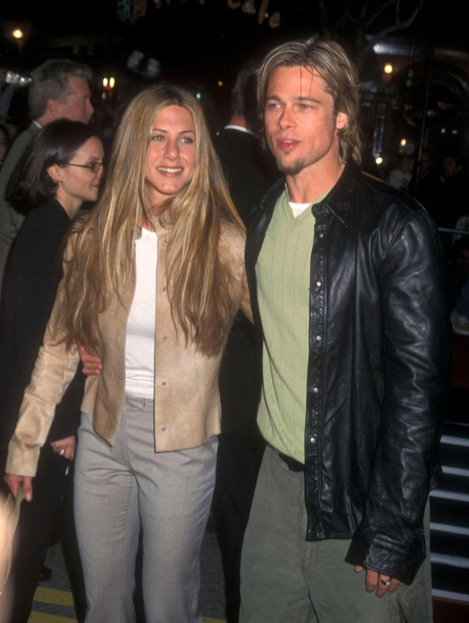 <p>Pitt and Aniston go on their first date after being set up by their agents—a true Hollywood romance, right? They <em>try</em> to keep things quiet for as long as they can, but this proves difficult since Pitt is one of the biggest movie stars in the world and Aniston is America's sweetheart. (Also, big ups to their beauty lewks in this photo.)</p>