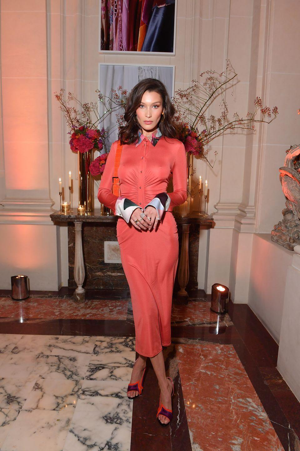<p>The model wore an Emilio Pucci dress to the event in Paris, September 2018.</p>