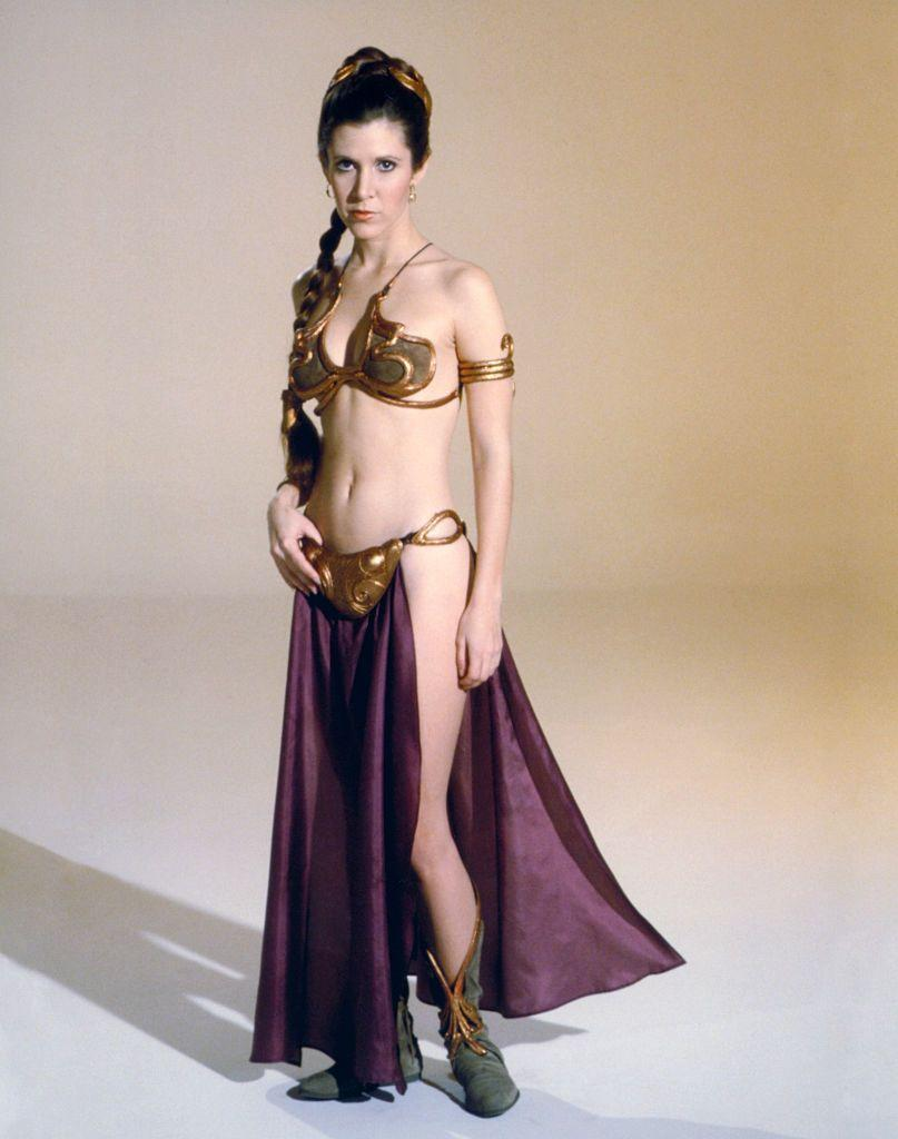 <p>Fans of <em>Star Wars </em>will remember Princess Leia's gold bikini. To complete the look, she wore a pair of questionable gray moccasin boots. </p>