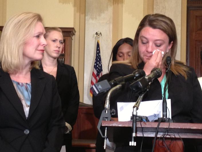 Military sexual assault survivor Jennifer Norris expresses her support for legislation introduced by Sen. Kirsten Gillibrand, D-N.Y., left, on May 16, 2013. A bipartisan group of House and Senate lawmakers led by Gillibrand proposed legislation that would authorize military JAG prosecutors to make the decision whether to prosecute cases potentially involving a jail sentence of a year of more.