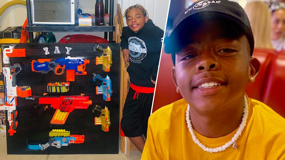 Isaiah with his toy gun collection. (Family photos)