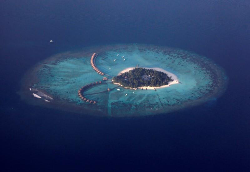 FILE PHOTO: An areal view shows a resort island in the Maldives