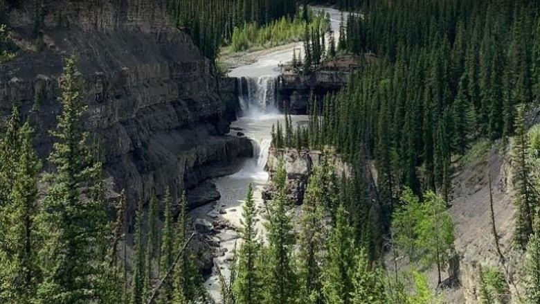 RCMP say three adults from a single family drowned while swimming at the bottom of Crescent Falls, located near Nordegg, Alta. (Josee St-Onge/CBC News)