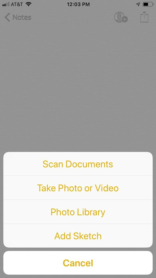 """<p>Once you click the """"+"""" icon, a list of options should appear. Choose """"Scan Documents.""""</p>"""
