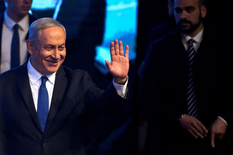 FILE PHOTO: Israeli Prime Minister Benjamin Netanyahu speaks to his supporters at a Likud party rally, in Ramat Gan