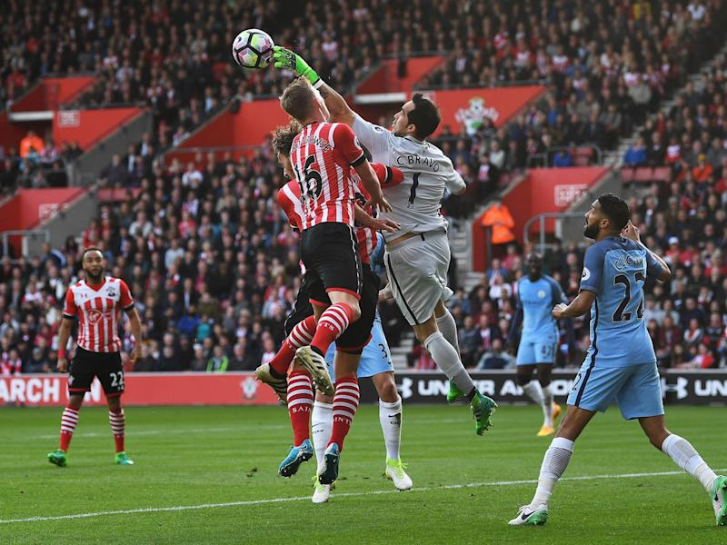 Claudio Bravo punches clear a Southampton corner (Getty)