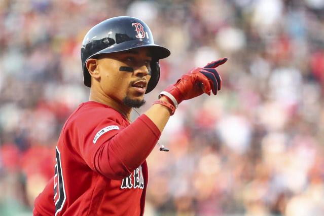 Red Sox slugger Mookie Betts became the latest MLB player to hit three homers in one game. (Getty Images)