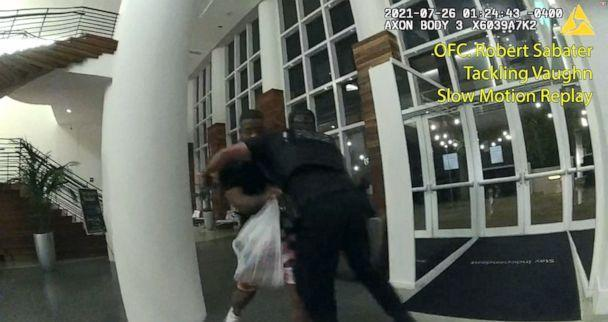 PHOTO: Officer Robert Sabater is seen tackling Khalid Vaugh in this image taken from police body camera video released by the Miami-Dade State Attorney's Office. (Miami-Dade State Attorney's Office)