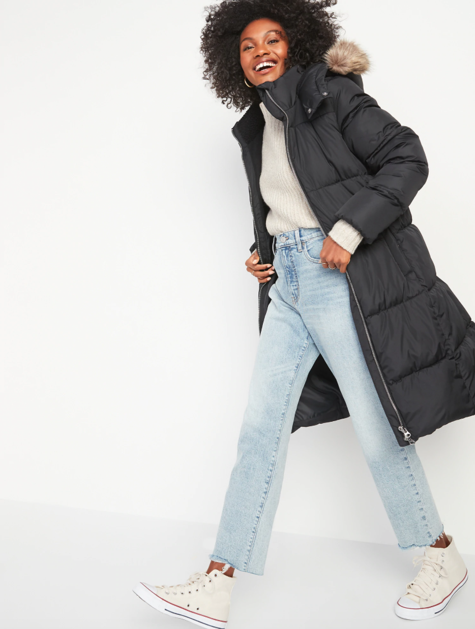 Frost-Free Long Hooded Puffer Jacket for Women - Old Navy.