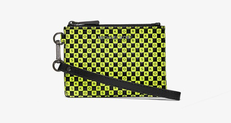 Michael Kors Checkerboard Logo Leather Coin Purse in Black/Neon Yellow