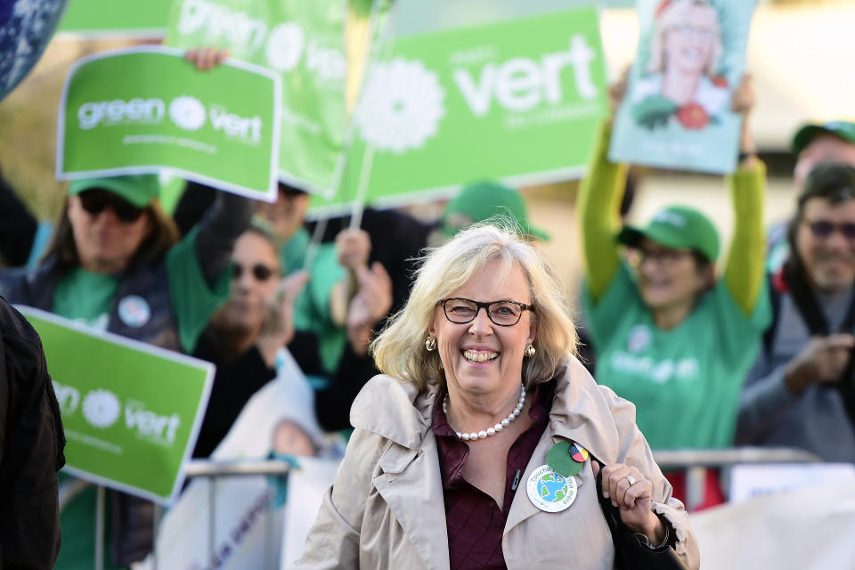 Green Party Leader Elizabeth May arrives for the French-language Federal leaders' debate in Gatineau, Quebec on Thursday, Oct. 10, 2019. (Frank Gunn/The Canadian Press via AP)