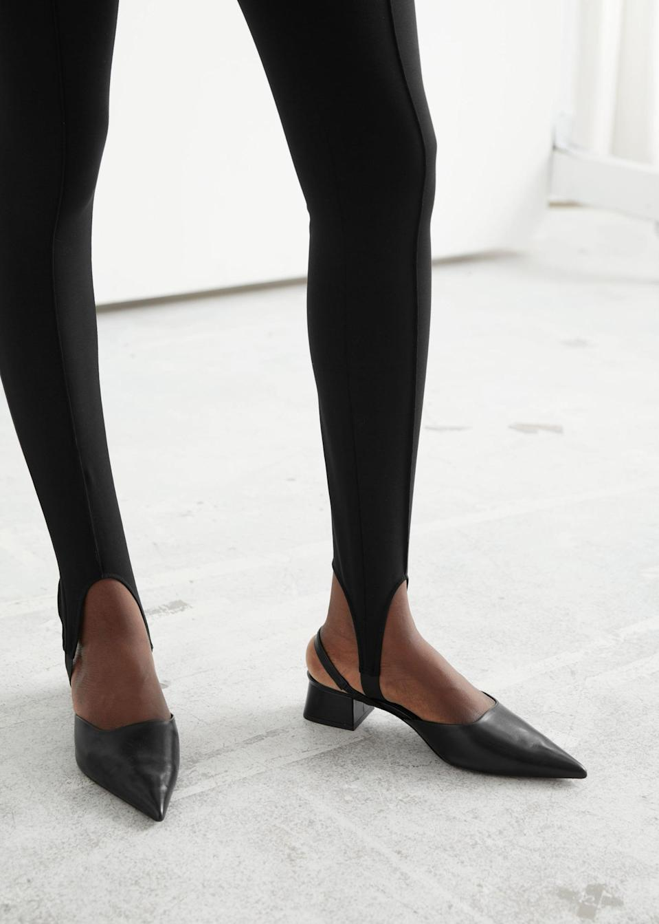 <p>The cutout details of these <span>&amp; Other Stories Stirrup Cotton Leggings</span> ($49) make them stand out.</p>