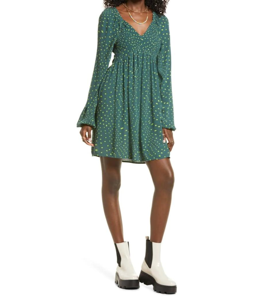 <p>If you're on the hunt for a dress that can transition from the dog days of summer to a crisp fall afternoon, this <span>BP. V-Neck Long Sleeve Babydoll Minidress</span> ($49) is it!</p>