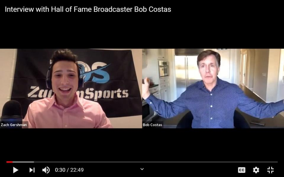 In this screenshot provided by Zach Gershman, the 18-year-old Penn State sophomore interviews sportscaster Bob Costas for Gershman's YouTube channel ZachOnSports on July 8, 2020. Gershman's paid summer internship as a studio host covering a collegiate baseball league was cancelled because of the coronavirus pandemic. He's been interviewing sportscasters as his own unpaid internship. (Courtesy of Zach Gershman via AP)