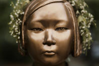 A statue commemorating so-called 'comfort women', an euphemism given by Japan to the women and girls enslaved for sex by the Japanese army during World War II, is displayed at a residential area in central Berlin, Germany, Friday, Oct. 9, 2020. (AP Photo/Markus Schreiber)