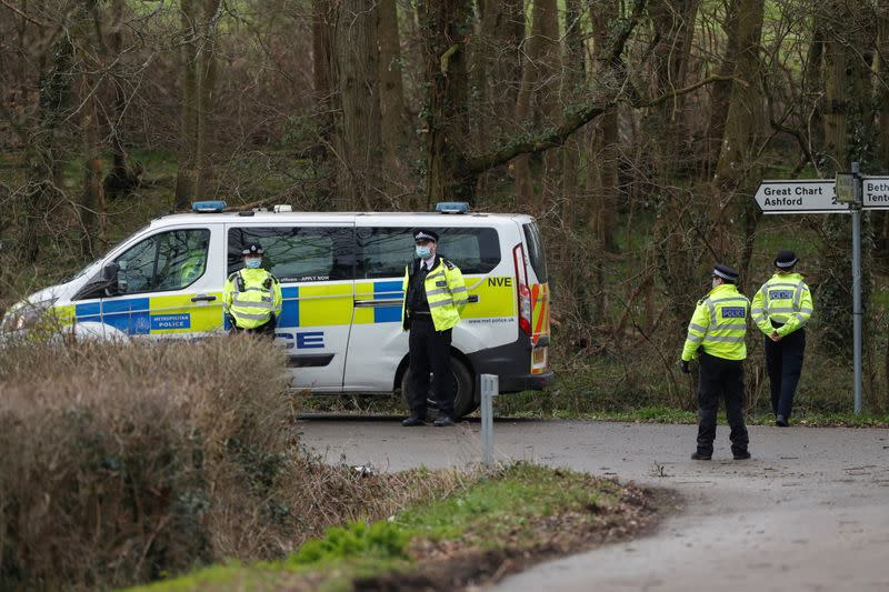 Police at the golf complex in Ashford