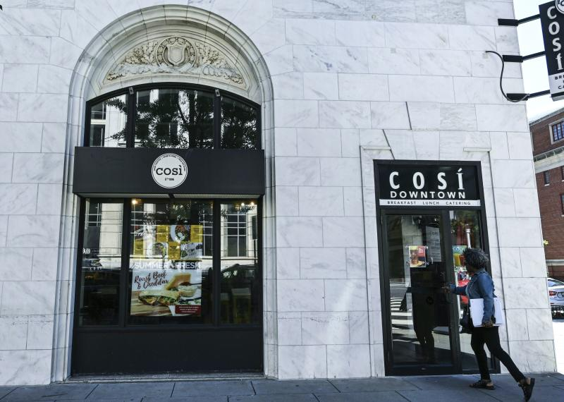 A Cosi logo is seen on the restaurant in downtown Washington, DC June 11, 2019. (Photo by EVA HAMBACH / AFP) (Photo credit should read EVA HAMBACH/AFP via Getty Images)