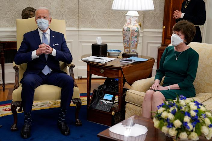 President Joe Biden meets with Sen. Susan Collins, R-Maine, and other Republicans to discuss a coronavirus relief package, in the Oval Office of the White House, Monday, Feb. 1, 2021, in Washington.