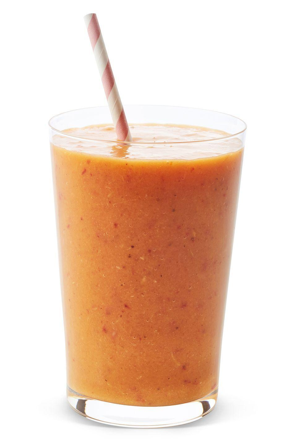 "<p>According to Bauer, this fall-flavored drink has ""beta-carotene, calcium, fiber, magnesium, and potassium.""</p><p><strong>Ingredients</strong>: 1/2 cup nonfat vanilla yogurt, 1/2 cup almond milk, 1/2 cup pumpkin puree, 1-1/2 tsp maple syrup, 1 ripe banana, 1/4 tsp ground cinnamon, 3 to 5 ice cubes. </p>"
