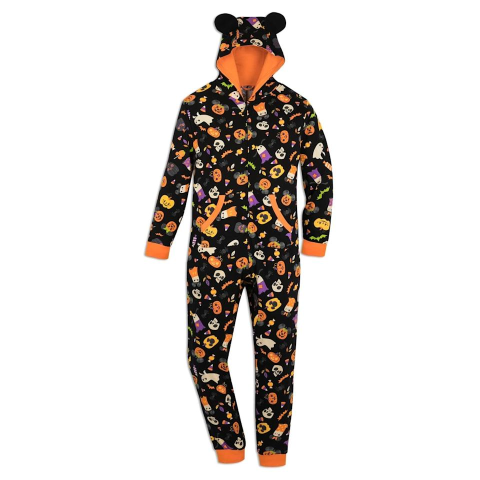 """<p>Enjoy movie nights at home with this <span>Mickey Mouse Pumpkin Halloween One-Piece Pajama</span> ($40). From a <strong>Halloweentown</strong> marathon to the classic <strong><a class=""""link rapid-noclick-resp"""" href=""""https://www.popsugar.com/Hocus-Pocus"""" rel=""""nofollow noopener"""" target=""""_blank"""" data-ylk=""""slk:Hocus Pocus"""">Hocus Pocus</a></strong>, you'll have a blast staying in and embracing the spooky vibes. It's got pockets! </p>"""