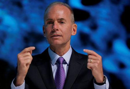 """FILE PHOTO: President, Chairman and CEO of The Boeing Company Dennis Muilenburg speaks at the """"What's Next?"""" conference in Chicago"""