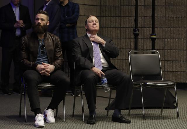 Super Bowl LIII MVP New England Patriots' Julian Edelman and head coach Bill Belichick wait for the start of a news conference for the NFL Super Bowl 53 football game Monday, Feb. 4, 2019, in Atlanta. The Patriots beat the Los Angeles Rams 13-3. (AP Photo/Morry Gash)