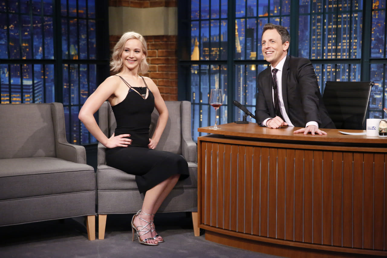 """<p>""""You probably know this by now because I told everybody at NBC,"""" <a href=""""https://www.youtube.com/watch?v=KZDYjcE9mIc"""">Jennifer Lawrence said</a>, who recently sat down with Seth Meyers on his show. """"Years ago I did <i>SNL</i>. You were working there. I had a really big crush on you. I had this whole plan. All week I'm all, 'He's going to ask me out. He's totally going to ask me out.' I created the romance in my head because I'm delusional."""" But when he didn't make the first move, she decided she would.""""I had this whole plan. I was going to ask you out. I started — thank God — I talked to the wardrobe lady about it. I was like, 'I'm going to askSeth Meyers out. I'm going to give him my number.' And she was like, 'Honey, he's engaged.'""""<br /></p>"""