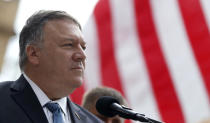 U.S. Secretary of State Mike Pompeo attends a ceremony at the General Patton memorial in Pilsen near Prague, Czech Republic, Tuesday, Aug. 11, 2020. U.S. Secretary of State Mike Pompeo is in Czech Republic at the start of a four-nation tour of Europe. Slovenia, Austria and Poland are the other stations of the trip. (AP Photo/Petr David Josek, Pool)