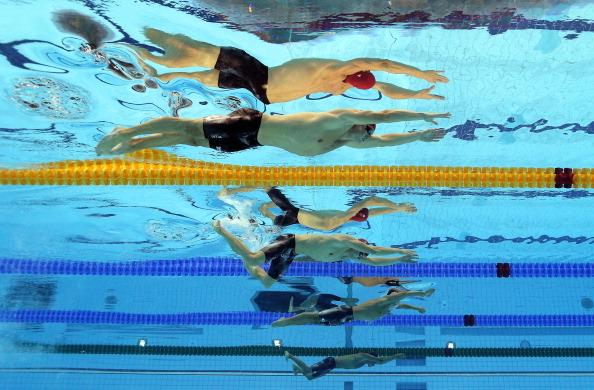 LONDON, ENGLAND - AUGUST 01:  (From top) Michael Jamieson and Andrew Willis of Great Britain compete the Final for the Men's 200m Breaststroke on Day 5 of the London 2012 Olympic Games at the Aquatics Centre on August 1, 2012 in London, England.  (Photo by Al Bello/Getty Images)