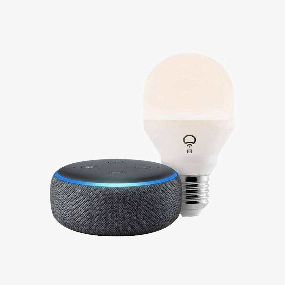 "No need to get up to turn off the lights after you finish reading in bed. This Echo Dot comes with everything you need to control the lights by voice. $60, AMAZON. <a href=""https://www.amazon.com/Echo-Dot-3rd-Gen-Charcoal/dp/B08F8QVRPJ/"" rel=""nofollow noopener"" target=""_blank"" data-ylk=""slk:Get it now!"" class=""link rapid-noclick-resp"">Get it now!</a>"