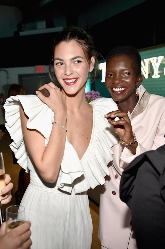 <p>Vittoria Ceretti and Achok Majak attend the Tiffany & Co. fragrance launch event in New York City. (Photo by Bryan Bedder/Getty Images for Tiffany & Co.) </p>