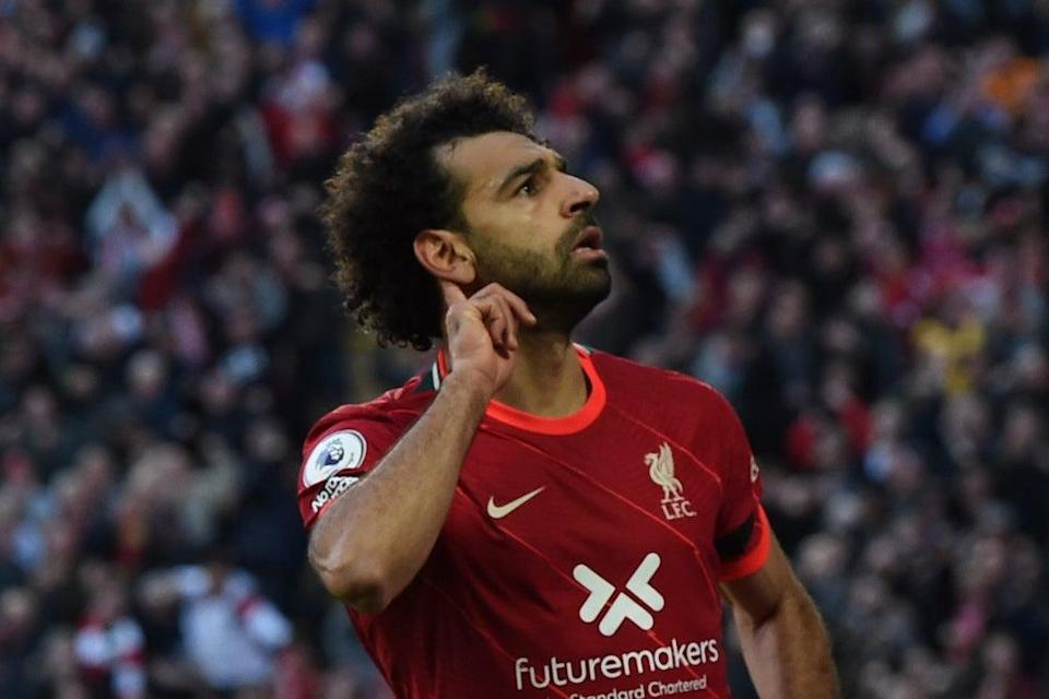 Mo Salah is the fastest player ever to reach 100 league goals for Liverpool (Liverpool FC via Getty Images)