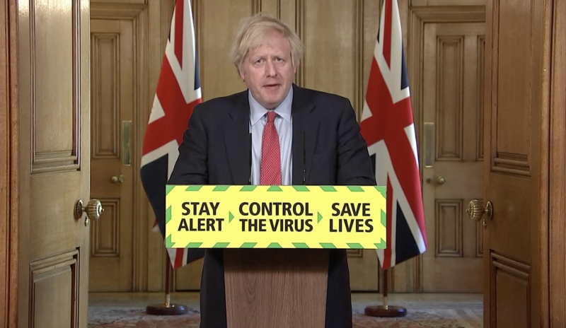 Boris Johnson announced that the lockdown will be eased at the daily Downing Street briefing (Parliament.TV)