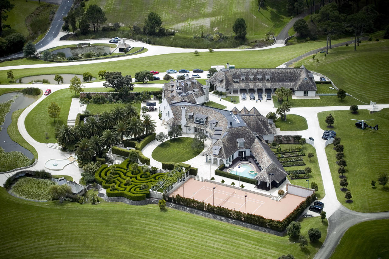 This aerial shot shows Kim Dotcom's house in Coatesville, north west of Auckland, New Zealand on Friday, Jan. 20, 2012. Police arrested founder Kim Dotcom and three employees of Megaupload.com, a giant Internet file-sharing site, on U.S. accusations that they facilitated millions of illegal downloads of films, music and other content costing copyright holders at least $500 million in lost revenue. (AP Photo/NZ Herald, Natalie Slade) NEW ZEALAND OUT, AUSTRALIA OUT