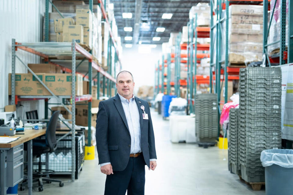 Brad Haupt, vice president of supply chain and contract management, at Monument Health's distribution center in Rapid City, S.D., where cases are on the rise. (Monument Health)