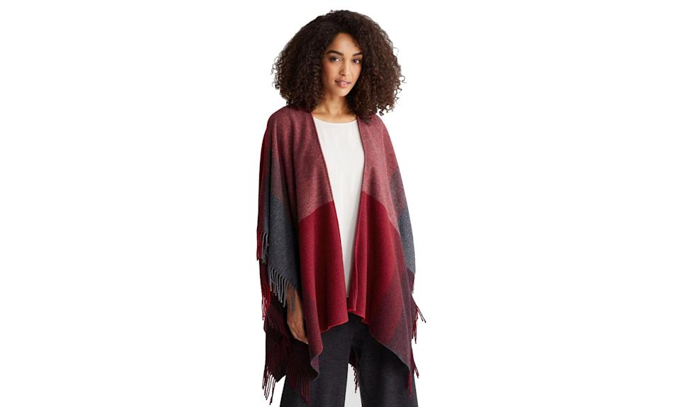 "<p>Whether your mom enjoys cozying up with a nice glass of wine or cup of tea, this patchwork poncho makes the perfect accessory.<br><br>Color Block Wool Serape, $79, <a href=""https://www.eileenfisher.com/color-block-wool-serape-r7whc-n1260/?&color=3973"" rel=""nofollow noopener"" target=""_blank"" data-ylk=""slk:eileenfisher.com"" class=""link rapid-noclick-resp"">eileenfisher.com</a> </p>"