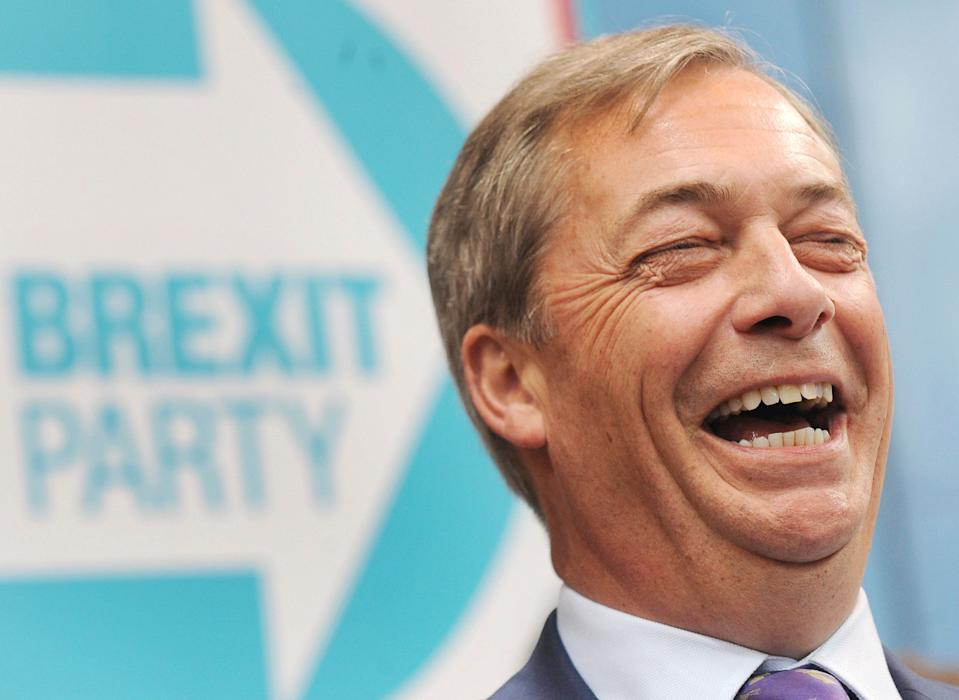 "Former U.K. Independence Party leader and MEP Nigel Farage speaks during the launch of the Brexit Party's European election campaign, in Coventry, England, Friday, April 12, 2019. Farage said Friday that delays to Brexit were ""a willful betrayal of the greatest democratic exercise in the history of this nation."" (AP Photo/Rui Vieira)"
