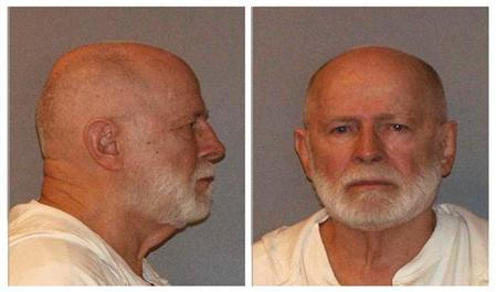 """Former mob boss and fugitive James """"Whitey"""" Bulger is seen in a booking mug combination photo"""