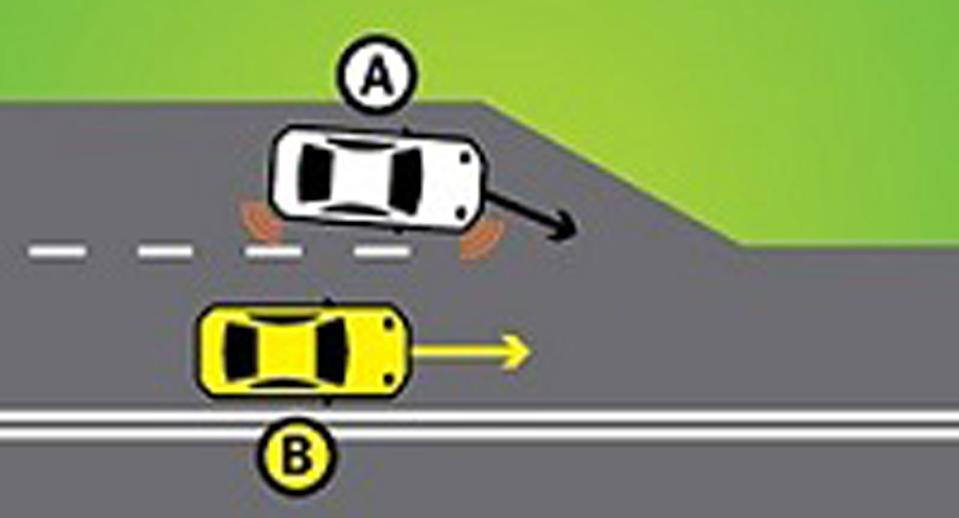 Pictured are two cars. One is trying to merge into the right lane where another car is. The dotted line ends. It's trying to perform a zip or zipper merge.
