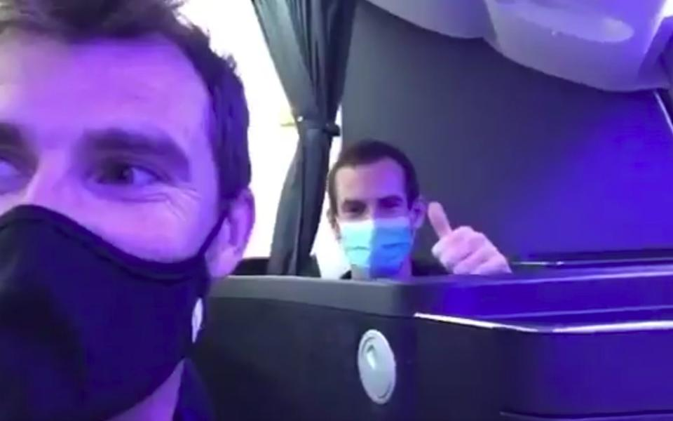 Jamie and Andy Murray on the plane to the US this week