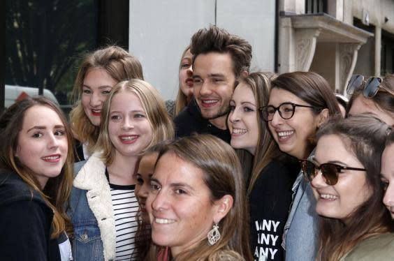 Liam Payne surrounded by fans in London, 2017 (Rex)