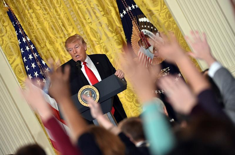 US President Donald Trump speaks during a press conference at the White House in Washington, DC (AFP Photo/Nicholas Kamm                       )