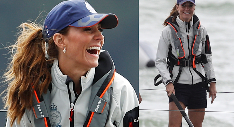 Kate Middleton wore shorts for the sailing race[Photo: PA]